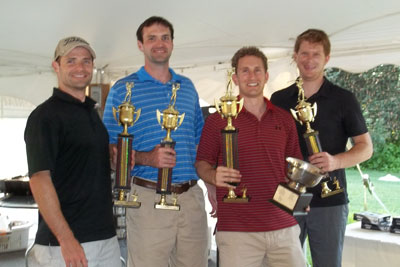 1st place winners with their trophies, The Bird: Jay Shulze, Joe Truhe, TJ Hyland and Matt Lewis